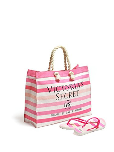 (Victoria's Secret Striped Canvas Tote & Flip-Flops (Small (5/6)))