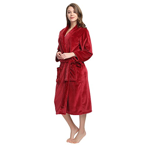 M&M Mymoon Womens Fleece Robe Soft Plush Bathrobe Long Thicken Warm Kimono Shawl Collar One Piece Homewear(L/XL,Wine Red)