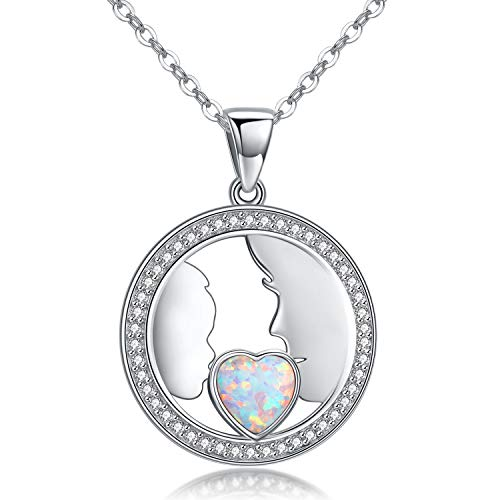 PRAYMOS Mother Daughter Necklace S925 Sterling Silver Necklace Synthetic Opal Gifts for New Moms Birthday Gifts for Women Mom Grandma ()