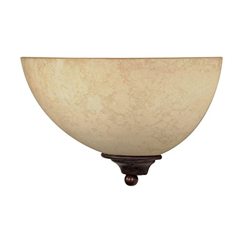 Italian Contemporary Sconce - Filament Design 77778540044 1-Light Old Sconce with Tuscan Suede Glass Shade, Bronze