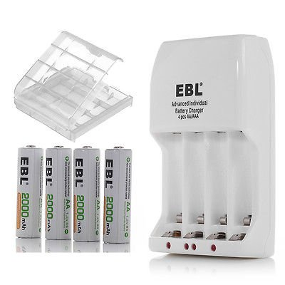 EBL 4 Slot AA AAA NiMH NiCd Battery Charger +4x 2000mAh Rechargeable Batteries