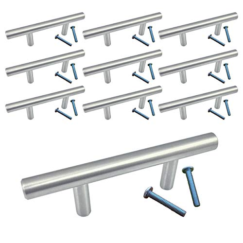(10 Pack, L: 4 Inches CC: 2 Inches) Swiss Kelly Satin Nickel Kitchen Cabinet Pull Drawer Handle - 2 Drawer Inch