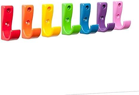 TOUGHOOK ONE Bolsa de seguridad de plástico irrompible y ganchos de pared para abrigos. Pack de 7, varios colores