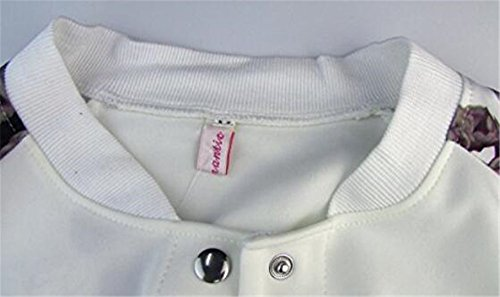 Jacket BESTHOO Chaquetas blanco Mujer Chaquetas Bolsillo Universidad Impresa Manga Outwear Corto Con Abrigos Botones Baseball Larga Top Flores Joven Cardigan Con rTr84