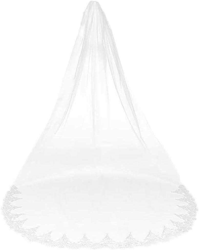 Cestbon Velo de Novia Largo Velo Blanco Marfil en Capas Palabra de Longitud 3M Accesorios Elegantes de la señora para Las Mujeres,Blanco