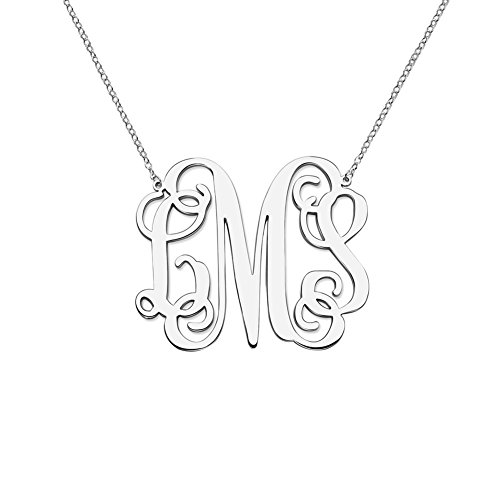 HACOOL 925 Sterling Silver Personalized Monogram Necklace Jewelry Custom Made with 3 Initials (Silver) ()