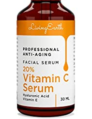 Organic Vitamin C Serum with Hyaluronic Acid, Extra Strength 20% Formula Anti-Aging Facial Serum by Living Earth, 1 fl oz