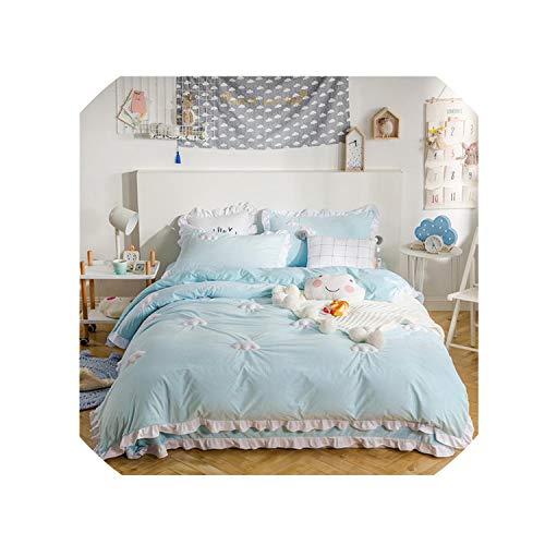 (Blue Pink Thick Fleece Winter Cute Bedding Set King Queen Twin Size Kids Girls Bed Set Bedsheet Clouds Duvet Cover Pillowcases,Bedding Set 1,Twin)