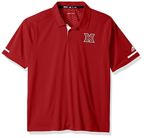 NCAA Miami (Ohio) Redhawks Adult Men NCAA Sideline Climachill Polo, Medium, Power Red