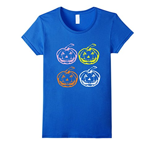 Cool Pop Art Costumes (Womens Cool Pop Art Halloween Tee | Scary Pumpkin Face T-Shirt Small Royal Blue)