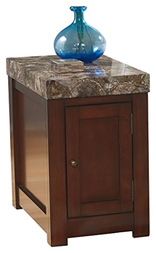 Rectangular Chairside End Table - Ashley Furniture Signature Design - Kraleene Chairside End Table - 1 Cabinet with 2 Shelves - Faux Marble Top - Dark Brown