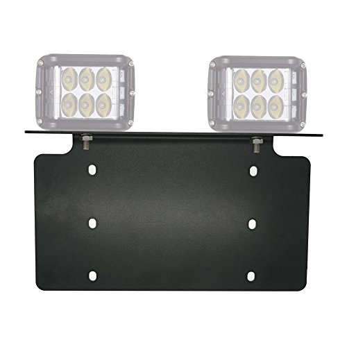 (War-Horse License Plate Mounting Bracket For LED Work Light Bar and Work Lamps,Fits most license plates(black,Heavy steel plate))