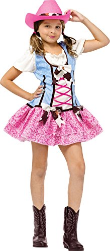 UHC Girl's Rodeo Sweetie Cowgirl Theme Outfit Halloween Child Costume, Child L (12-14) (Rodeo Clown Outfit)