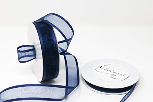 Navy Blue Organza Ribbon with Satin Edge-25 Yards X 5/8 Inches ()