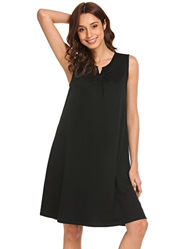 Ekouaer Ekoauer Womens Bamboo Viscose Sleeveless V Neck Nightgown,Black-short,Medium