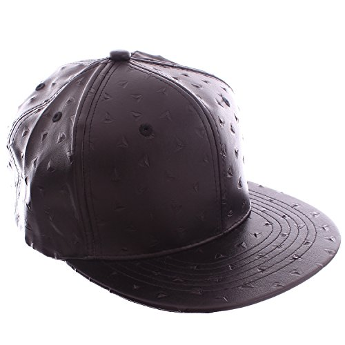 Academy Fits Black Faux Leather Embossed Markings Snapback Baseball Hat