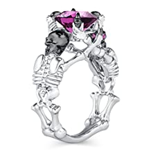Silvercz Jewels Skeleton Oval & Round Cut Simulated White Diamonds Silver Plated Skull Fashion Ring