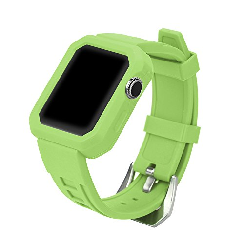 - Cywulin Compatible for Apple Watch Band 38MM 42MM 40MM 44MM, Soft Silicone Sport Wrist Band Loop Replacement Strap Bracelet Compatible with iWatch Apple Watch Series 4/3/2/1 (38mm/40mm, Green)