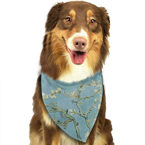 DMFS Van Gogh Almond Blossom Art Dog Bandana Collars Triangle Neckerchief Puppy Bibs Scarfs Pet Scarfs Cats and Baby Scarf Towel -