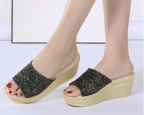 Ciabatte da con Donna Zeppa Nero Paillettes Sandali Toe Spiaggia Peep Runyue con Flop Flip Anti Scarpe Scivolo qgEIzxOnO