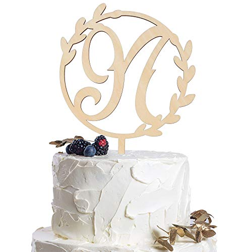 Letter N Personalized Initial Wood Cake Topper Monogram Wedding Anniversary Birthday Vow Reveal Party Decoration -