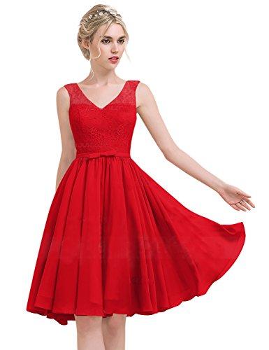 Princess Chiffon mit Erosebridal Linie Brautjungfernkleid Knielang V Ausschnitt Lace Schleife Rot gdHpwHx
