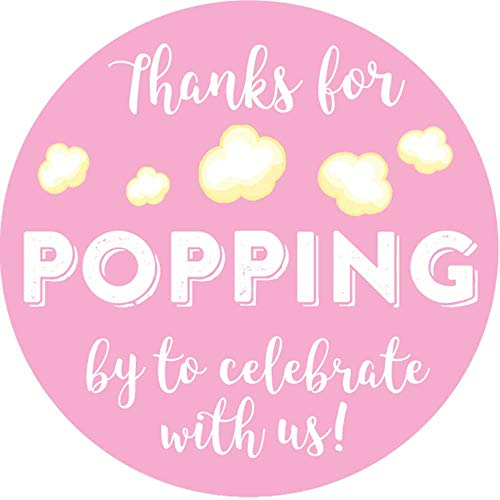 2 Inch Thanks for Popping by Wedding Stickers Set of 60 (Light Pink)