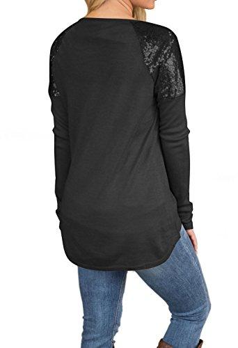 Maglie Paillettes Lunga Sottile Collo Donne Simple e Tops Cucitura Rotondo Camicie Tees a Jumper T Primavera Moda Irregolare Autunno Bluse Nero Shirts Fashion Maglietta Manica Casual wx01q0OTU