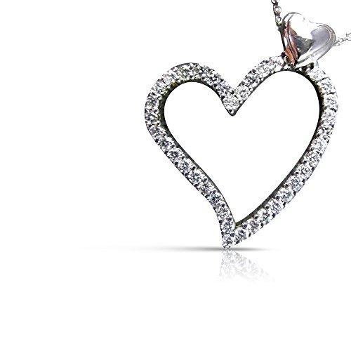 Milano Jewelers LARGE .97CT DIAMOND 14KT WHITE GOLD FLOATING OPEN HEART PENDANT #14730
