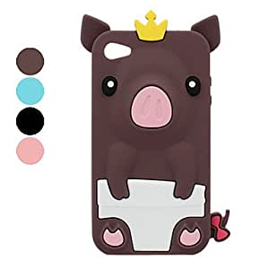 ZCL Pig in Crown Silicone Case for iPhone 4 and 4S (Assorted Colors) , Brown