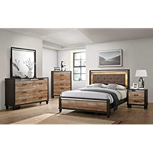 GTU Furniture Striking Two Tone Wooden 5Pc King Bedroom Set(K/D/M/N/C)