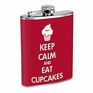 KEEP CALM AND EAT CUPCAKES Flask 8oz D-119