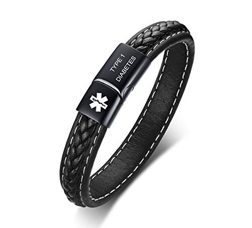 VNOX Medical Alert ID Type 1 Diabetes Black Handmade Braided Genuine Leather Magnetic Cuff Bangle Bracelet