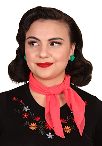 Sidecca Retro Classic Chiffon Square Neck Head Scarf (One Size, Coral (Square One Halloween)