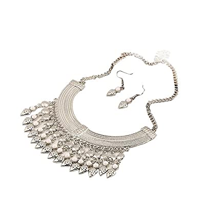 Wholesale Susenstone Luxury Tassel Coin Rhinestone Choker Statement Necklace Earring Jewelry Set for cheap