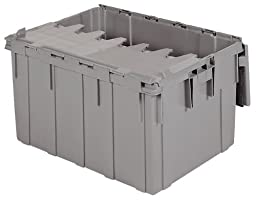 Akro-Mils 39280 28-Inch L x 21-Inch W x 15.5-Inch H 28-Gallon Attached Lid Container Plastic Storage and Distribution Tote with Hinged Lid, Grey