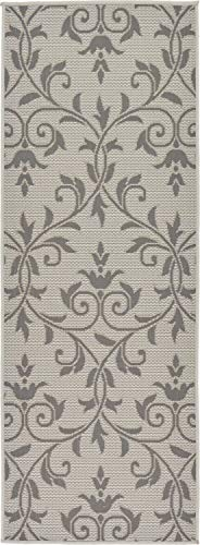 Elements Runner Rug - Unique Loom Outdoor Botanical Collection Floral Vines Transitional Indoor and Outdoor Flatweave Gray  Runner Rug (2' 2 x 6' 0)