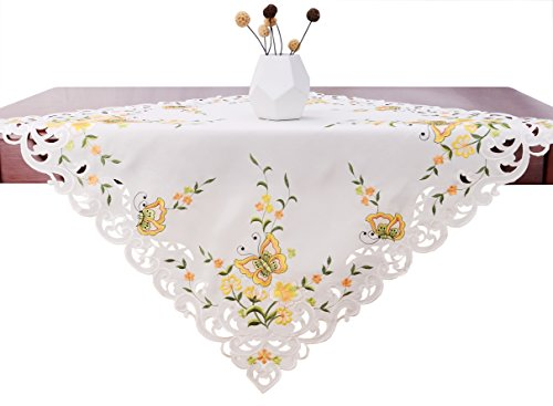 Simhomsen Spring Butterfly Floral Tablecloths Toppers, Yellow Square 34 (Butterflies Table Topper)