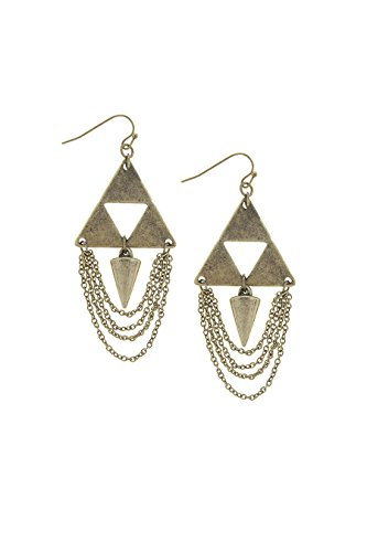Crislu Gold Earrings (TRENDY FASHION JEWELRY ANTIQUE TRIBAL TRIANGLE LAYERED CHAIN EARRINGS BY FASHION DESTINATION | (Antique Gold))
