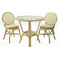 Denver Dining Set of 2 Natural Rattan Wicker Side Chairs with Cream Cushion and Dining Round Table Glass Top, Cream