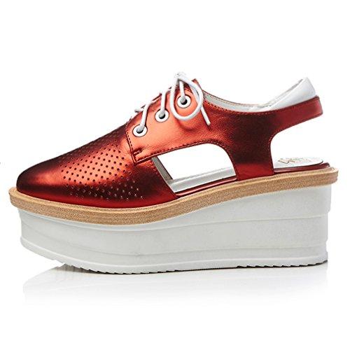 ENMAYER Womens Kuh-Leder überstreifen Schnall Quadratische Zehe Schuhe Für keilabsatz Sommer Beiläufige Art und Weise Sandalen Rot #1