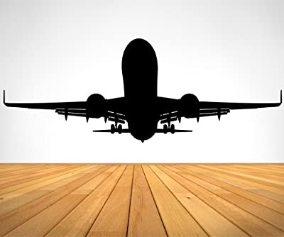 """Stickerbrand Aviation Plane Taking Off Wall Decal Sticker - Black, 27"""" x 72"""". #OS_ES101A. Easy to Apply & Removable Home Office Decor Vinyl Wall Art."""