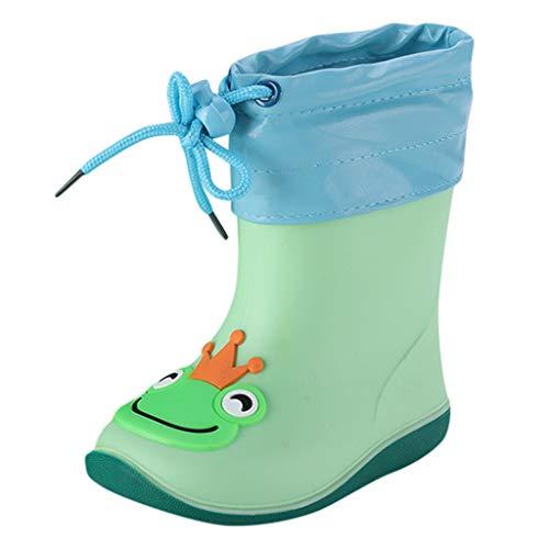 Sherostore ♡ Toddler Kids Rain Boots Waterproof Cartoon Rubber Booties Ankle Short Rain Shoes for Baby Girl Green
