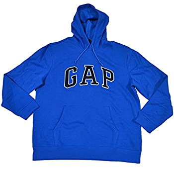 GAP Mens Fleece Arch Logo Pullover Hoodie (Bright Blue, Medium)