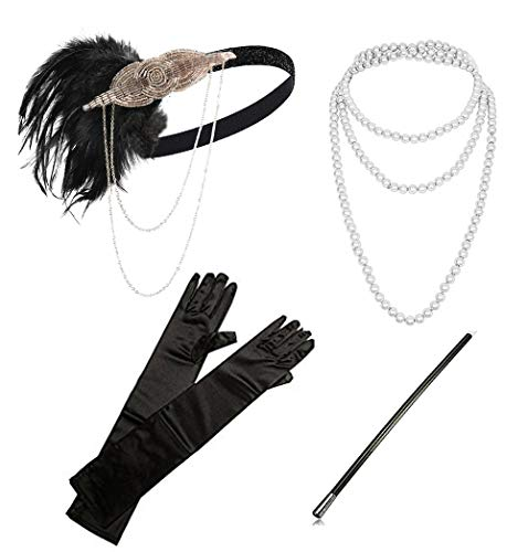 Roaring 20s Cigarette Girl (1920s Flapper Gatsby Costume Accessories Set 20s Flapper Headband Pearl Necklace Gloves Cigarette Holder(A-Champagne and Black)