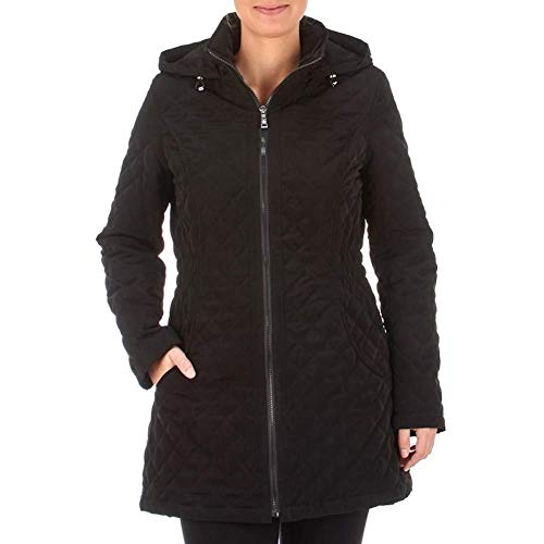 Coat Laundry Quilted (Laundry by Shelli Segal Quilted Coat Jacket with Attached Bungee Cord Hood Black (S))