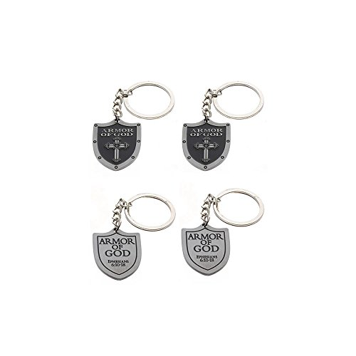 Sterling Gifts 4 Armor of God Shield Pewter Key Chains,with Cross Key Holder Pack of 4, Keychains