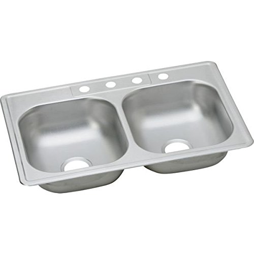 Elkay K233213 Kingsford 23 Gauge Stainless Steel Double Bowl Top Mount Kitchen Sink, 33 x 21.25 x 6.0625'' by Elkay