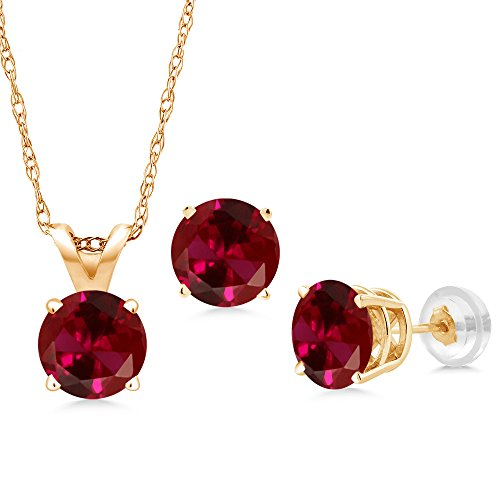 3.00 Ct Round Red Created Ruby 14K Yellow Gold Pendant Earrings Set With Chain (Ruby Jewelry Set Gold)