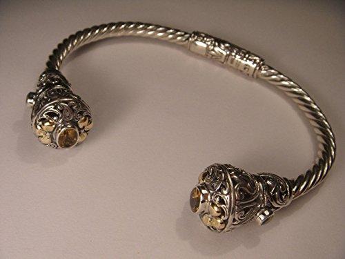 Etruscan 14K Gold Accent Sterling Silver .925 Citrine Peridot Bangle Bracelet ()